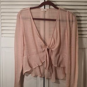 NWT blush tie front long sleeve top